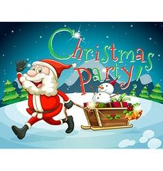 Christmas card with Santa and presents vector image