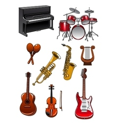 Classic musical instruments on white background vector image vector image
