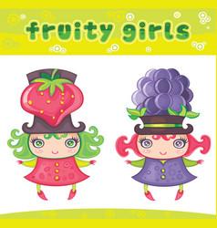 fruity girls series 6 strawberry blackberry vector image vector image