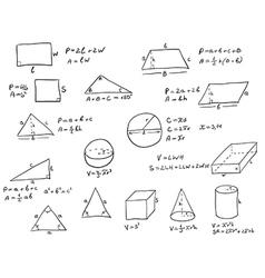 Hand Written Geometry Formulas vector image