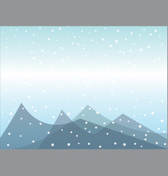 snow falling on mountains vector image vector image