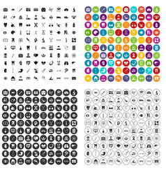 100 medical icons set variant vector image