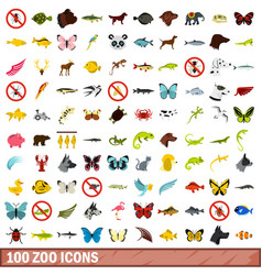 100 zoo icons set flat style vector