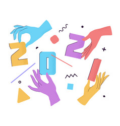 2021 with flat cartoon numbers and human hands vector image