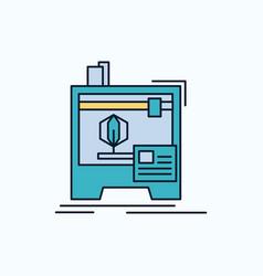 3d dimensional machine printer printing flat icon vector