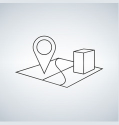 3d map pointer line icon mobile gps navigation vector image