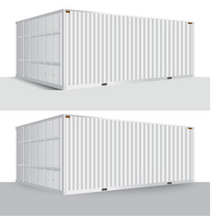 3d perspective white cargo container shipping vector