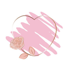 a pencil stroke and a heart-shaped golden frame vector image