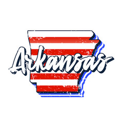 American flag in arkansas state map grunge style vector