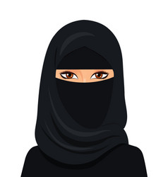 Arabic muslim woman in niqab isolated on a white vector