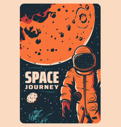 Astronaut in outer space mars exploration vector