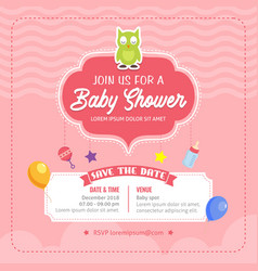 baby shower theme invitation template vector image