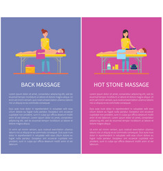 Back and hot stone massage session cartoon banner vector