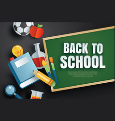 back to school banner with education items and vector image