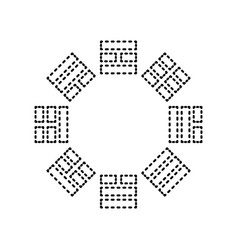 Bagua sign black dashed icon on white vector