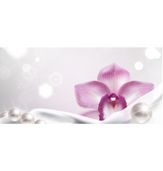 Banner with orchid and white satin fabric vector