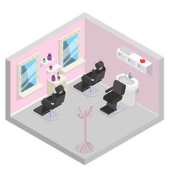 barbershop isometric hair wash salon room barber vector image