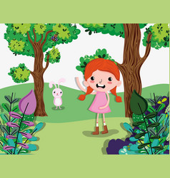 beautiful girl at forest vector image