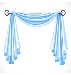 Blue curtains on the ledge forged isolated on a vector image