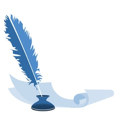 Blue feather pen in the ink and paper vector