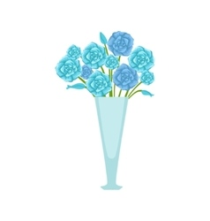 Blue Roses Flower Bouquet In Tall Flower Vase vector image