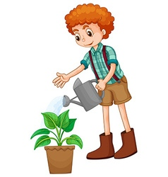 Boy watering the plant vector