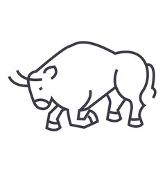 Bull fightspain line icon sign vector