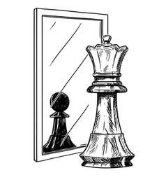 Cartoon drawing of white chess king reflecting in vector