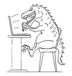 Cartoon monster t-rex or internet predator on vector