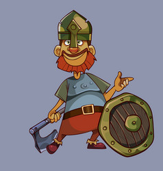cartoon smiling man in knight armor with ax and vector image