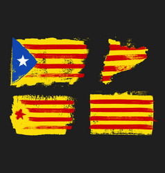 Catalonia flags grunge style vector