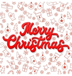 Christmas card 3d lettering on white background vector