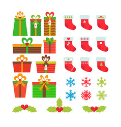 Christmas icons set gift boxes snowflakes holly vector