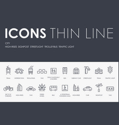 City thin line icons vector