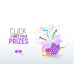 click to get your prizes open textured purple box vector image