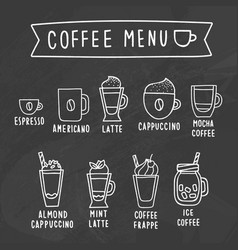 coffee menu chalk drawing on a blackboard vector image