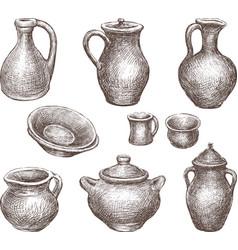 Collection earthenware vector