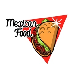 Color vintage mexican food emblem vector image vector image