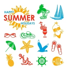 colorful 15 summer icons vector image