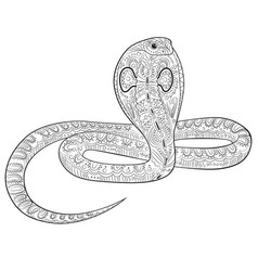 Coloring page with snake in zentangle style vector