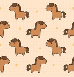 cute horse seamless pattern background vector image