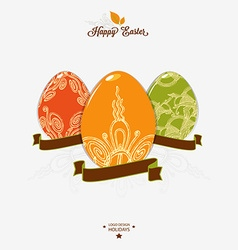 Easter logo emblem with ribbon vector image