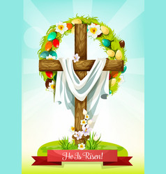 Easter sunday cross with flower and egg wreath vector