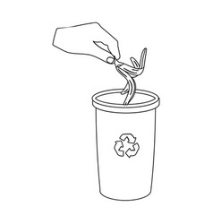 Emission banana peel into garbage can vector