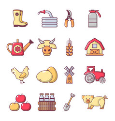 Farm agricultural icons set cartoon style vector