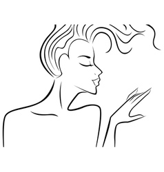 Female silhouette with flowing hair vector image