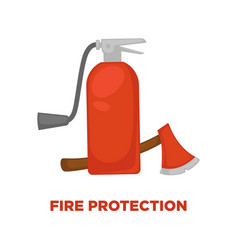 fire protection extinguisher and axe flat vector image