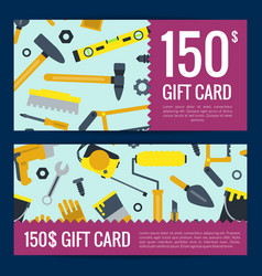 flat construction tools discount or gift vector image