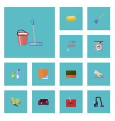 flat icons sofa faucet sponge and other vector image