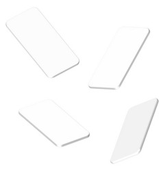 four white smartphone 3d projection mockups vector image